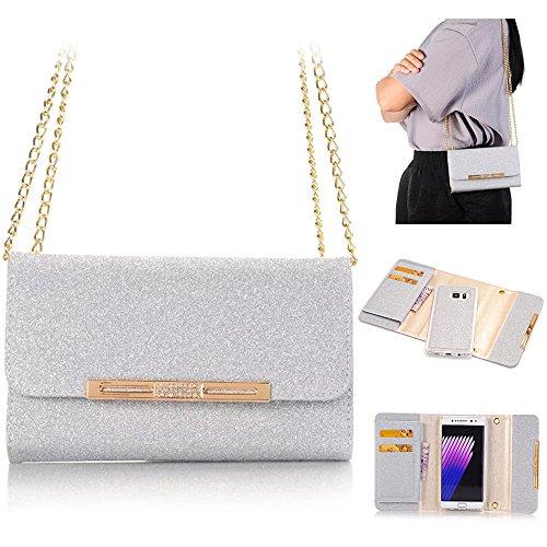 Weiße Clutch Wallet (XGUO Samsung Galaxy S7 Edge Multifunktions Geldbörse Clutch Bling Kristall Schutzhülle Case Cover Mit 7 Kartenfächer Wallet Brieftasche abnehmbaren Magnet Handy Schutzhülle(S7 Edge, Weiß))
