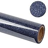 RUSPEPA Brillo De Transferencia De Calor Vinyl -Glitter Flake Design Ideal para Camisetas, Bolsas De Lona para Prendas De Vestir Y Otras Telas-30.48 * 50Cm-Azul Marino