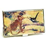 Étui porte-cartes de visite, porte cartes mémoire, de crédit et de nacre cadeau tiger & oiseau