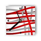 Wanduhr motivx mit Motiv rote und graue Streifen