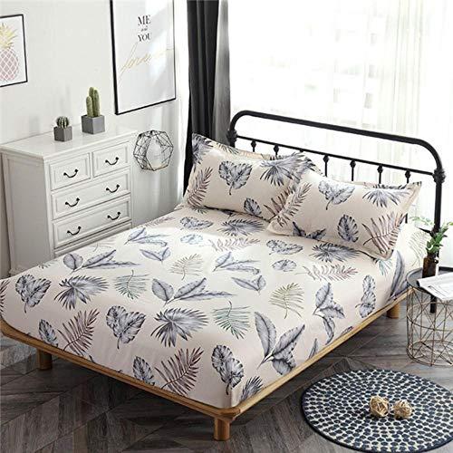 PENVEAT Weiße Blätter Bettlaken Pflanzendruck Spannbetttuch Matratzenschoner Gummiband Weicher Kissenbezug Bettwäsche Twin King Bett, style1, Bett 120x200cm