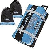 Elephant Valise à roulettes XXL 80cm/120l, sac de voyage + sacs à linge, bleu/noir (bleu) - 12356