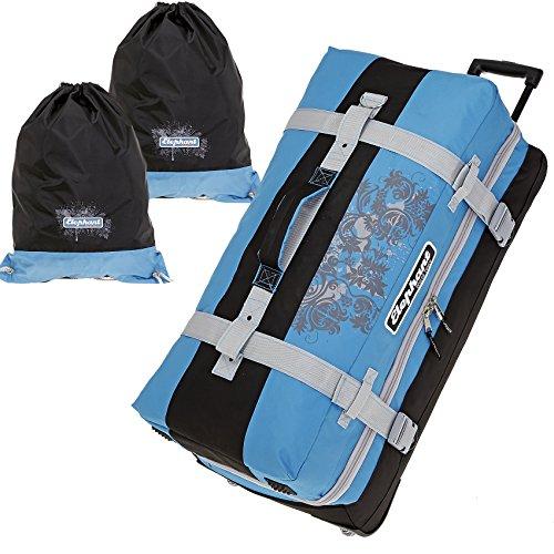 Elephant à Roulettes XXL 80cm/120l Roll Sac de voyage + sacs à linge, Blau / Schwarz (Bleu) - 12356