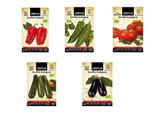 Lote 5 sobres Semillas Ecológicas Batlle (Pimiento rojo, Pimiento Verde, Tomate Tres Cantos, Calabacin y Berenjena)