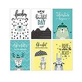 Set di 6 manifesti artistici dalla scuola materna 11x17 | Stampe forestali per decorazioni per bambini | Wildlife Animal Poster Perfect camera da letto per bambini | Immagini del tema della natura