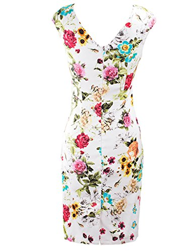 Women's Sleeveless Vintage Floral V Neck White Bodycon Dress, XL