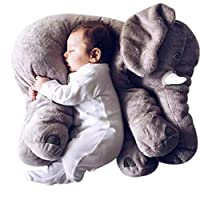 Flyinghedwig Baby Elephant Plush Soft Toys Cute Animal Cushion Pillow Cotton Novelty Home Decoration (Grey, Large)