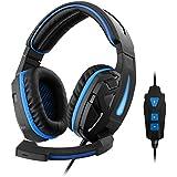 1Life 1IFEHSCYBER71 Virtuelles 7.1-Surround-Sound Kopfhörer mit einem Mikrofon für Spieler schwarz/blau - gut und günstig
