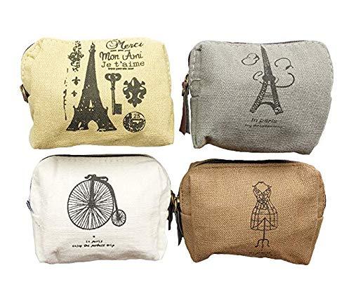 Leinwand Münze Taschen, itoolai Canvas Change Cash Small Damen Geldbörse Geldbeutel 4er-Set Paris - Mädchen Gesteppte Geldbörse