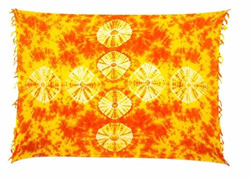 Ca 88 Original Ciffre Pareo Sarong Sarongs zur Auswahl Fair Trade Strandtuch Wickelrock Strandtuch Schals Halstuch Blickdicht Design by El-Vertrieb Orange Style