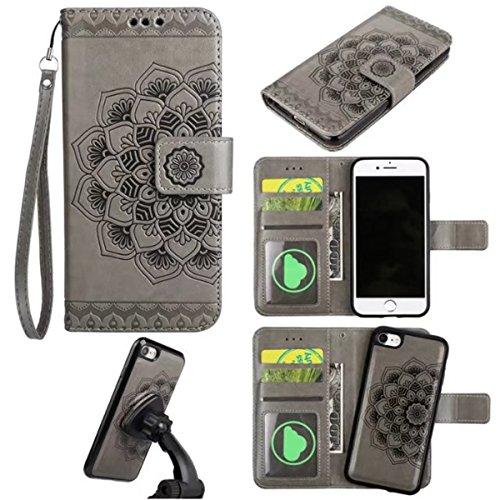 iPhone 7 Hülle, iPhone 7 Brieftasche, Lifetrut Premium Mandala Emboss PU Leder 2 in 1 Wallet Flip Folio Case Magnetische abnehmbare Rückenabdeckung & Handschlaufe für iPhone 7 [Braun] E204-Grau