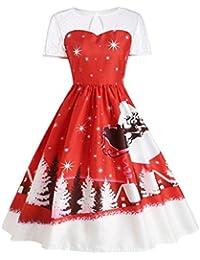 KOLY Natale dell Annata delle Donne Gonne a Manica Corta con Stampa O-Collo  Vestito da Swing A-Line Estivi Vintage… 910c2299d99