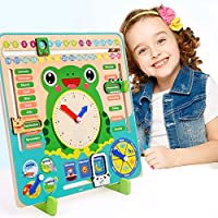 Wooden Calendar Clock Educational Weather Season Toys Clock Learning
