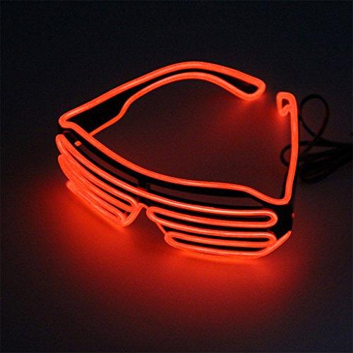 beleuchtete Brille leuchten glühende Gläser LED EL Draht für Halloween Nacht Party Rave (Rot) (El-draht-gläser)