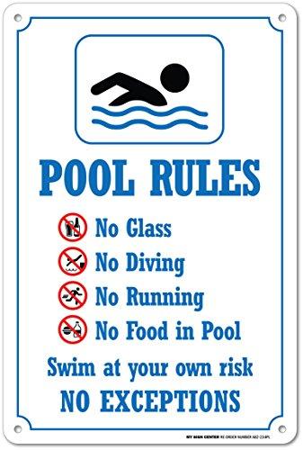 My Sign Center piscina regole Safety Sign, plastica–35,6x 25,4cm