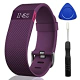 A Value Meal For Fitbit Charge HR - UPXIANG Fitbit Charge HR Lightweight Silicone Sport Smart Wrist Strap Replacement Watch Band Clasp + Protector Film, For Fitbit Charge HR (Purple)