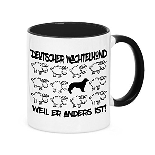 Tasse BLACK SHEEP - DEUTSCHER WACHTELHUND - Hunde Fun Schaf Kaffeebecher Siviwonder