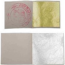 10hojas plata alimentos 4cm de coté +–Juego de 10hoja de oro comestible 3,5cm de coté