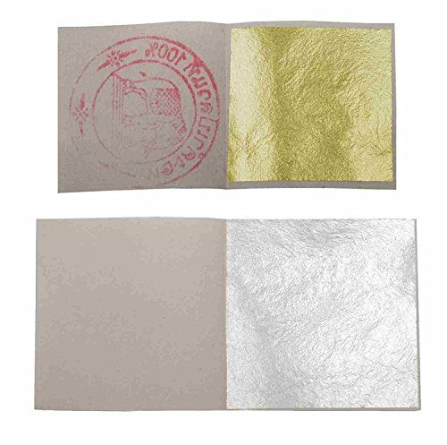 sim gold leaf 20Blatt silber Lebensmittel 40mm x 40mm + 20Stück Blatt D 'Or Essbar Größe 35mm von 35mm -