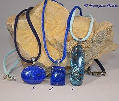 Pendentif Lapis-lazuli, suédine et pierre véritable, pour lithothérapie ou non.