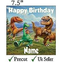 Personalizado buena dinosaurio decoración para tarta para glaseado comestible 7.5 inch troquelada, cuadrado