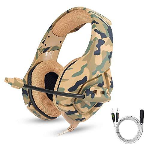 AOLVO ONIKUMA Gaming-Headset PS4 Gaming Kopfhörer 3,5 mm Stereo Camouflage Gaming Headset Kopfhörer mit Geräuschunterdrückung Mikrofon für Nintendo Switch Xbox One S PC PS4 gelb