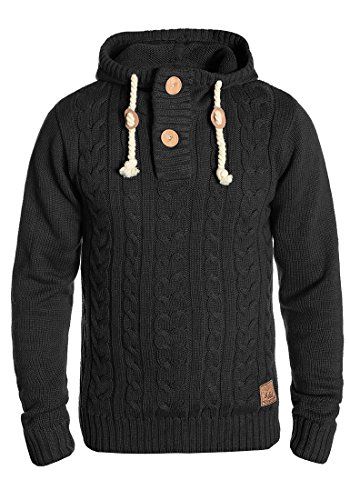 SOLID Pravin Herren Kapuzenpullover Strickpullover Zopfstrick aus hochwertiger Baumwoll-Mischung Dark Grey Melange (8288)