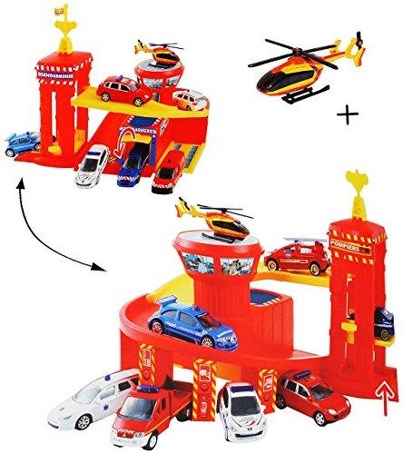 Spielset: Feuerwehrstation mit Hebebühne / Lift - Rampe + Werkstatt + 5 Garagen + Flugzeug - 1/64 - passend auch für 3-D Spielmatte Straße - Feuerwehr Fahrzeuge für Kinder zum - Matchbox Baustelle