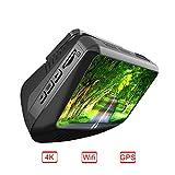 Dash Cam Ultra HD 4K 2880x 2160p Dash Cam Auto Kamera Auto Objektiv Nacht Vision von 170Grad G-Sensor Bewegungserkennung  Schwarz
