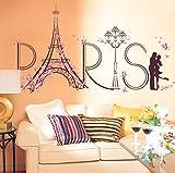 iYmitz  Grosses Soldes ! Stickers muraux, Paris Tour Eiffel Romance Stickers Muraux Affiche Décoration Décor À La Maison DIY 60x90cm