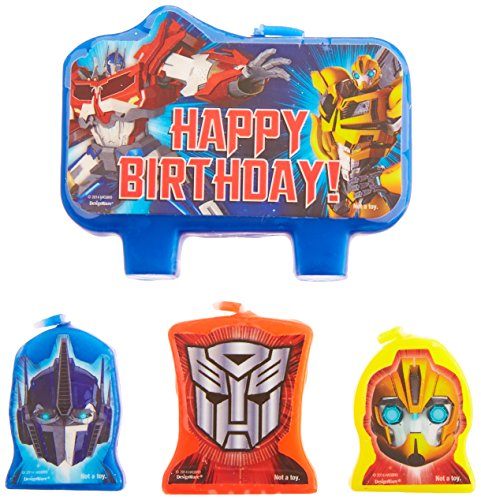 Transformers 4 teiliges Geburtstagskerzen Set - Happy Birthday ()