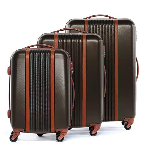 FERGÉ Kofferset Hartschale 3-teilig Milano Trolley-Set - Handgepäck 55 cm L XL - 3er Hartschalenkoffer Roll-Koffer 4 Rollen 100% ABS café
