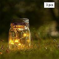 Ailier Bocal solaire LED avec changement de couleur et couvercle pour jardin, décor, à suspendre, Lanterne pour la décoration, bouteille bricolage, extérieur, barbecue, ambiance, Noël, Fête, Mariage, vacances, Warm White, 3 pcs