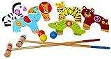 Tooky Toy - Croquet d'animaux - Croquet en bois avec six figures d'animaux - Maillets de 55 cm