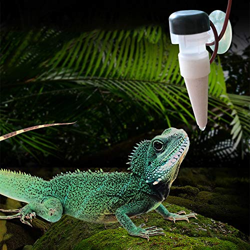 Dayyly Reptilien-Trinkbrunnen simuliert Regenwald Wassertropfen Terrarien hängende Wasserflasche für Reptilien Bewässerung Wasserreiniger