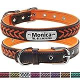 Vcalabashor Personalisierter Hundehalsband aus Leder/Graviertes Edelstahl Typenschild / 2 Zeile für den Namen und die Telefonnummer des Haustiers/Für mittlere und große Hunde/Orange