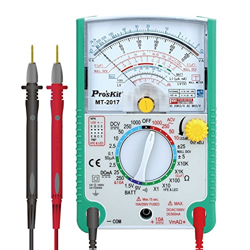 analogique multimètre, Pro sKit Mt-2017 analogique Mètre AC/DC Voltmètre Ampèremètre Ohmmètre, résistance Capacitance Decibils diode transistor testeur de continuité avec HFE Test et LED