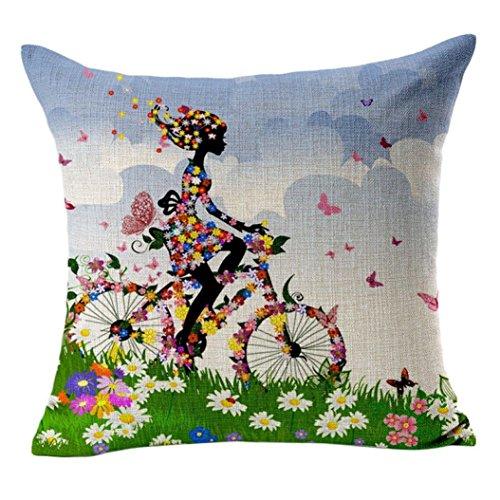 Fundas de Cojines 45x45 Vintage Floral Chica Bicicleta Funda de Almohada de...