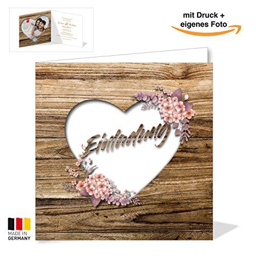 Rustikale Hochzeitskarte – Einladungskarte in Holz-Optik – Vintage Blumen Einladung für deine Hochzeit – Hochzeitseinladungskarte mit Druck und deinem Bild (30)
