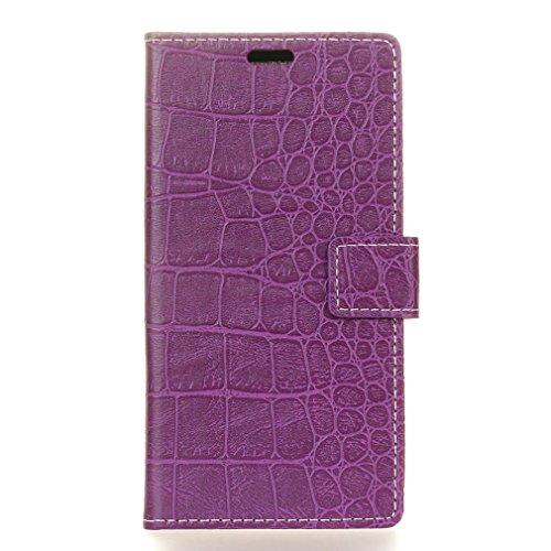 LMFULM® Hülle für Alcatel 5 5086D (5,7 Zoll) PU Leder Magnetverschluss Brieftasche Lederhülle Crocodile/Krokodil Muster Stent-Funktion Ledertasche Flip Cover für Alcatel 5 Lila