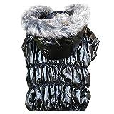 Hund Kapuzenmantel - SODIAL(R) Katze/ Hunde-Bekleidung Winter Warme Steppjacke fuer Weihnachten Welpen-Hundejacke mit Kapuze Mantel Kleidung (schwarz, M) -