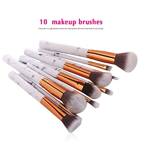 MYG 10 Pieces Marble Make Up Brushes ,Professional Unique style Makeup Kabuki Brush Kit Eyeliner Eyeshadow Foundation Blush Powder Liuqids Cosmetics Tool With Pouch + 1pc Makeup Silicone Puff (Gift)