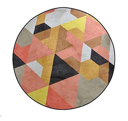 LH-RUG Hochwertige Super Soft Decke Modernes einfaches rundes Wohnzimmer Kaffee Geometrischer Teppich Schlafzimmer Nordischer Teppich Nachttisch Korb Computer Stuhl Matte (Gelb) Nordic Designer Anti-Rutsch- Nicht reizende ( größe : Diameter 120cm ) (Teppich-korb)