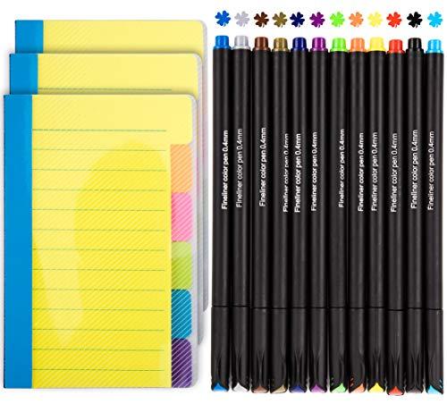 Haftnotizen liniert Stifte, 3 Stück selbstklebende Index Tab plus 12 farbige Bullet Journal Stifte, Lesezeichen-Aufkleber Fineliner Stifte Tagebuch-Seitenreiter für Lehrer, Schule,10,2 x 15,2 cm, Gelb (Dinge Zu Tun, Journal)
