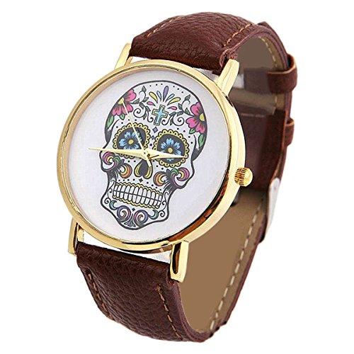 SAMGU Frauen Uhren Quarz Uhr Art und Weiseschädel Uhren Damen Herrenuhr Sportuhr Skull Watches Farbe Brown