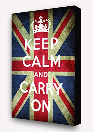 Keep Calm & Carry On 'Union Jack Flag' Vertical Block Mount by Laminated Posters