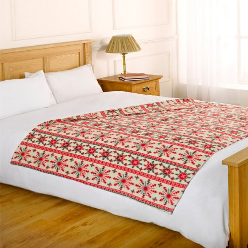 Dreamscene Christmas Fleece Blanket, Cream, 120 x 150 Cm