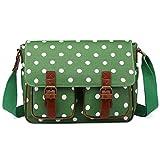 Miss LuLu Wachstuch Tasche Umhängetasche Schultasche Messenger Bag mit vielen...