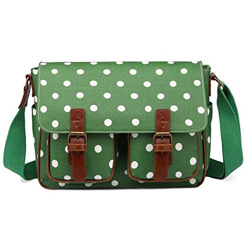 Miss LuLu Wachstuch Tasche Umhängetasche Schultasche mit vielen Drucken in vielen Farben (D2-GN) -