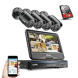 SANNCE Videoüberwachung Überwachungskamera 10 Zoll Display 4CH 720P DVR Recorder Überwachungssystem mit 4 Kameras 720P für Innen und Außen Bereich mit eingebaute 1TB Festplatte
